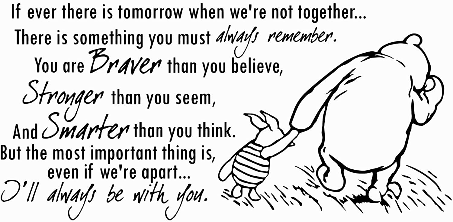 Winnie The Pooh Quote Wall Decal Vinyl Sticker Decals Quotes Braver Stronger Smarter Wall Decor Nursery Baby Room Art Kids Playroom x215