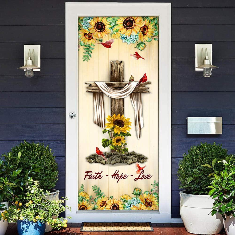 FLAGWIX Door Direct sale of manufacturer Covers Printed-Jesus Cross. Max 71% OFF Hope Love - Faith Doo
