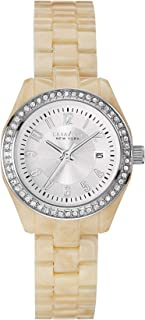 Caravelle Womens 43M109 Quartz Crystal Accent Date Ivory Plastic 28mm Watch (Renewed)
