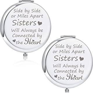 Blulu 2 Pieces Sister Birthday Gift Compact Mirror Gifts For Sister from Brother Engraved Gifts for Mothers Day, Graduation Present for Her