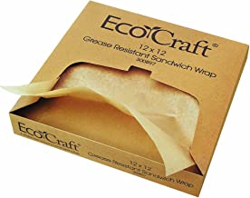 EcoCraft 300897 NK1212 Natural Grease-Resistant Sandwich Paper Wrap and Liner, 12 x 12 Inches, Box of 1,000 (Pack of 5)