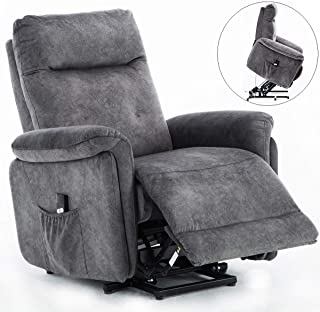 Power Lift Recliner Chair for Elderly, Bonzy Home Living Room Chair with Remote Recliner Chair Comfortable with Short Plush Fabricfor Living Room/Bedroom, Navy
