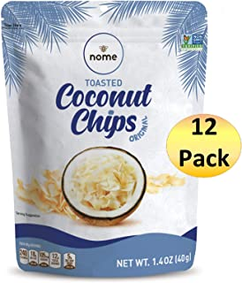 Coconut Chips Nome 12 Pack - 1.4oz (Original) - Simple Ingredients - Non-GMO - Gluten Free - No Preservatives - Keto and Paleo Diet