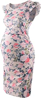 Bhome Maternity Dress Flying Sleeve Casual Pregnancy Summer Dresses