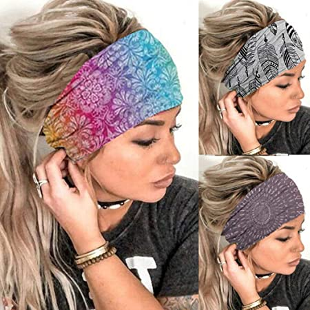 Details about  /Stripe Polyester Women Yoga Hair Bands Yoga Sweatband Turban Wide Headbands