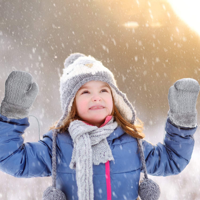 4 Pairs Winter Kids Knit Mittens Thicken Plush Warm Woolen Gloves with String (Black, Light Gray, Beige, Dark Gray)