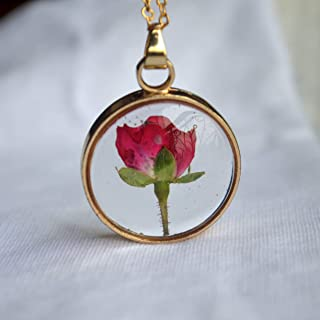 Red Rose Real Flowers Floating Locket 18k Gold Plated Chain Long Necklace
