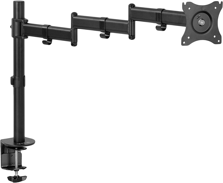 VIVO Single 13 to 32 inch Computer Monitor Desk Mount, Extra Long Adjustable Arm, VESA Stand for 1 Screen, Max VESA 100x100, Black, STAND-V101N