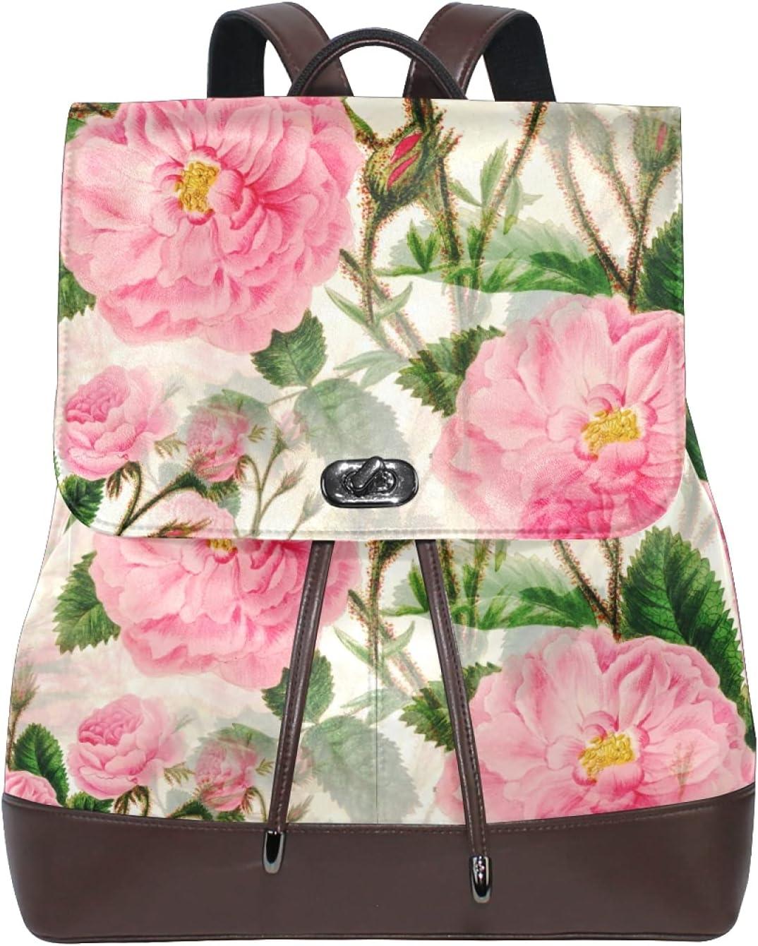 Women Leather Backpack Ladies Fashion Shoulder Bag Large Travel Bag Flowers-4