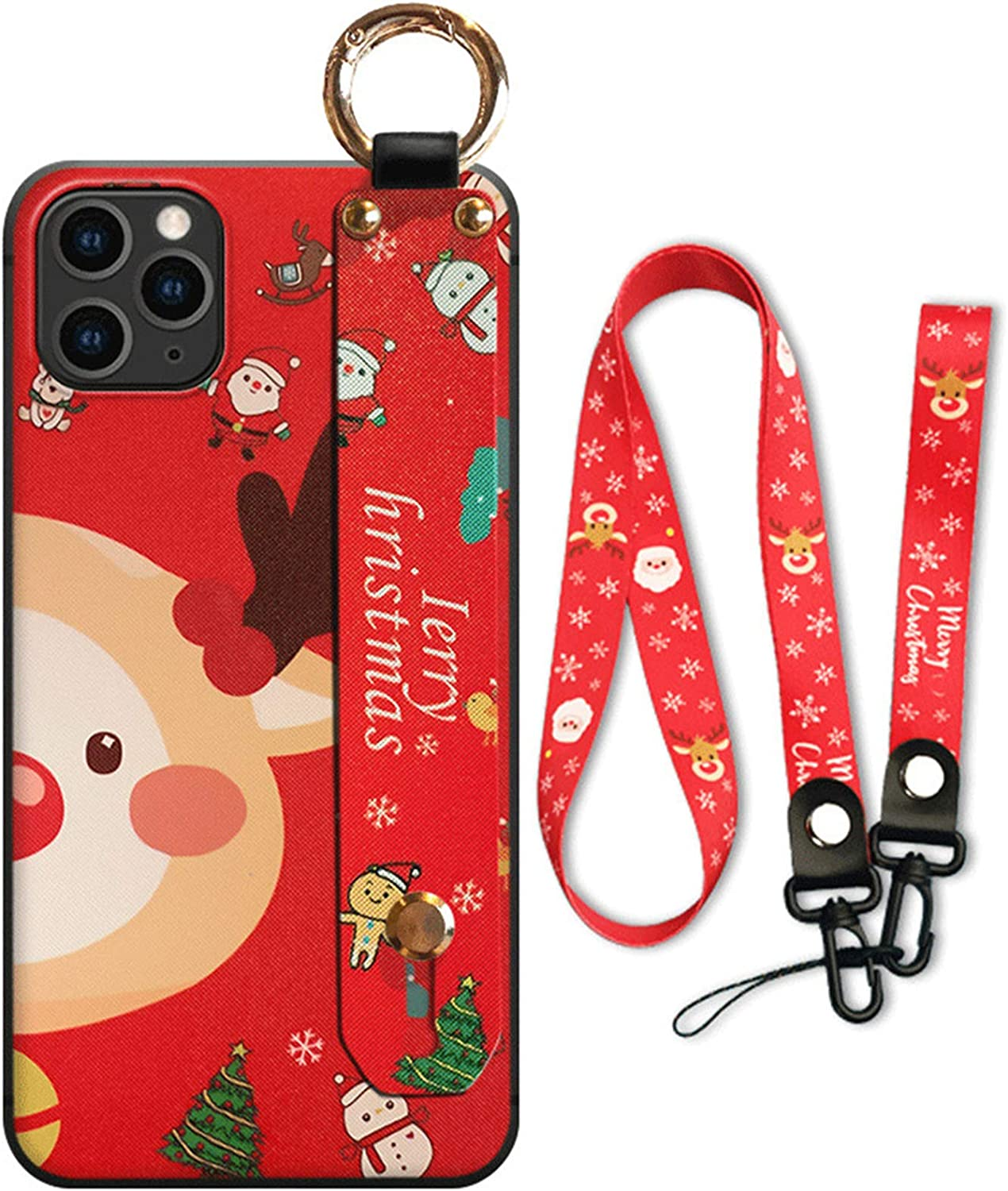 VooDirop Cute Christmas Wrist Strap Lanyard Case for iPhone 7/8 / SE, Unique Case with [Long Strap Rope] Slim Fit Shockproof Protective Case (Red Deer Head, iPhone 7/8 / SE)