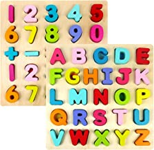 Kids Wooden Alphabet Number Puzzle Set, Alphabet ABC Numbers 123 Learning Puzzles Board, Preschool Educational Puzzles Montessori Toy Gift for 1 2 3 Year Olds Toddlers Baby Girls Boys