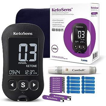 KetoSens Blood Ketone Monitoring Starter Kit - Ideal for Keto Diet. Includes Meter, 10 Ketone Test Strips, 10 Lancets, Lancing Device & Case