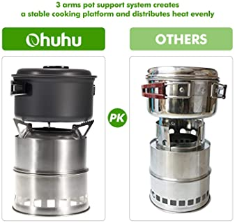 Camping Stove Ohuhu Stainless Steel Backpacking Stove Potable Wood Burning Stoves for Picnic BBQ Camp Hiking with Gri...