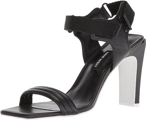 Nine West Wohommes ZEBREE Leather Heeled Sandal, noir Multi, 10.5 M US