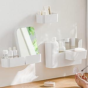 Set of 4,Floating Shelf Wall Mounted Bathroom Organizer Ledge Shelf for Home Decor/Kitchen/Bathroom Storage,Bedroom, Living Room, Bathroom, Office, Makeup, Non-Drilling Adhesive