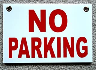 1-Pcs Dazzling Unique No Parking Yard Signs Outdoor Decal Plastic Coroplast Warning Message Stand Away Decor Tenant Visitor Fine Lawn Property Van Car Permit Pole Private Post Size 8