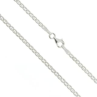 """Diamond Cut Solid 925 Sterling Silver Mariner Chain Necklace for Women Men Super Shiny Durable 2.2MM 14"""" - 36"""""""