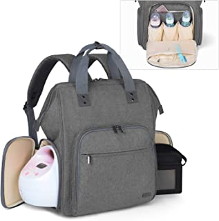 Luxja Breast Pump Bag with Compartments for Cooler Bag and Laptop, Breast Pump Backpack with Breastmilk Bottle Pockets (Fi...