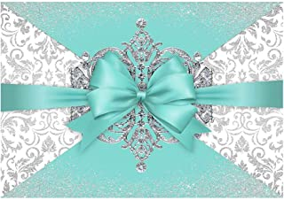 Funnytree 7x5FT Luxury Bowknot Breakfast Co Blue Photography Backdrop for Birthday Bridal Shower Wedding Party Banner Diamond Crown Damask Background Photo Booth