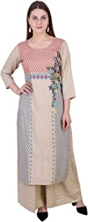 Meer India Garments SCREEN PRINTED RAYON STRAIGHT FESTIVE KURTA WITH PRINTED RAYON PALAZZO