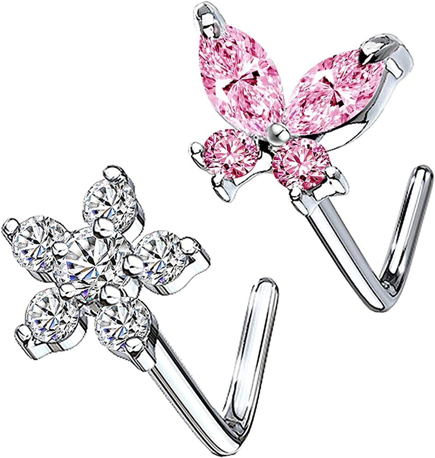 CHARMONLINE CZ Butterfly Flower Top L Bend Stud Nose Ring 20G L Shaped Nose Studs Nose Hoop Rings Nose Body Piercing for Women Mens