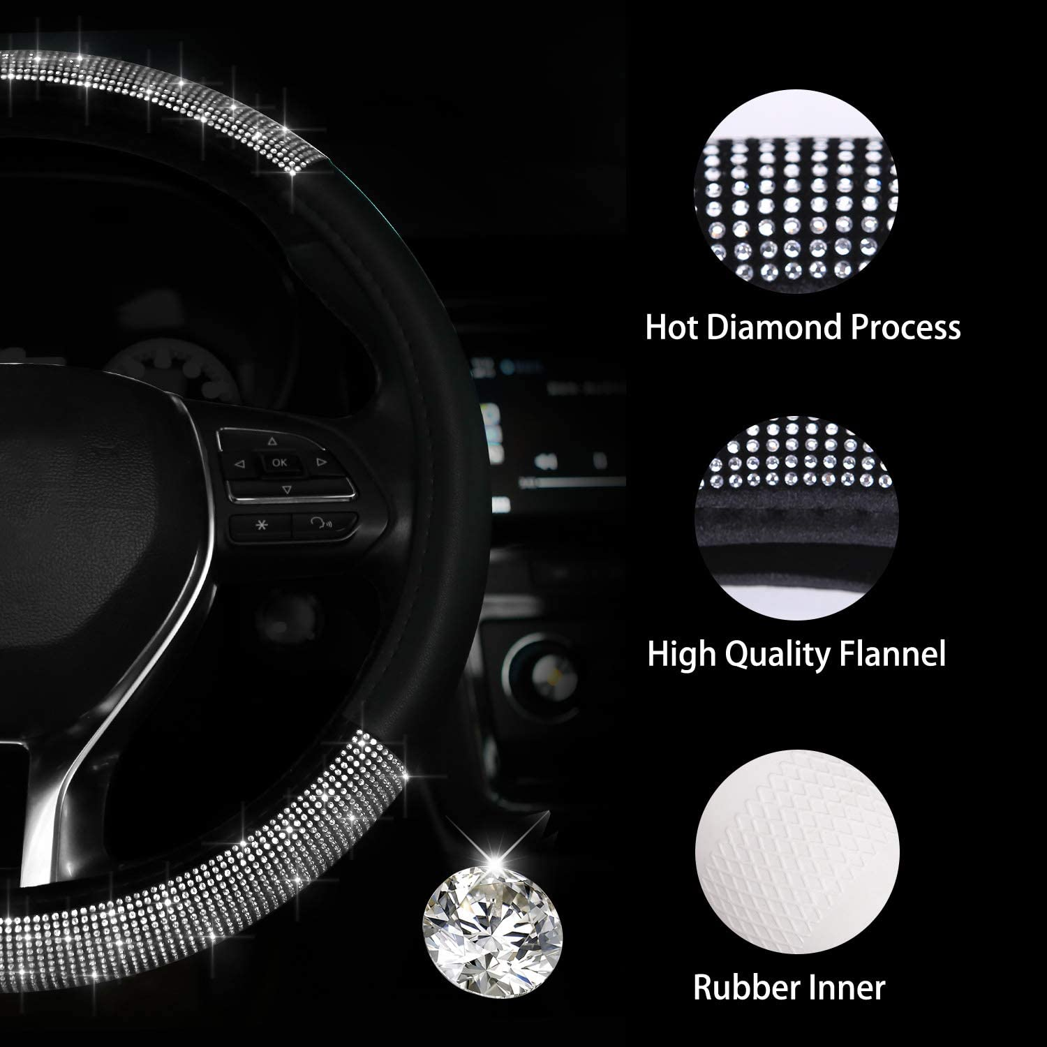 Black Universal Fit 15 Inch Anti-Slip Wheel Protector for Women Girls Bling Bling Crystal Rhinestone Rainbow Steering Cover Meserparts Diamond Steering Wheel Cover