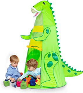 Kids Play Tents, T-REX Dinosaur Tents for Boys Pretend Play Game Props, Easy Assemble Durable Folding Tent with Carrying Bag, Best Gift to Children Age 3+ (60.5