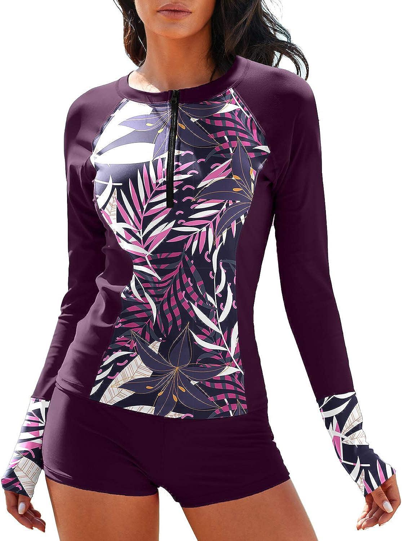 MISSVOG Women Two Piece Rash Guard Long Sleeve Half-Zipper UPF 50 Athletic Surfing Swimsuit