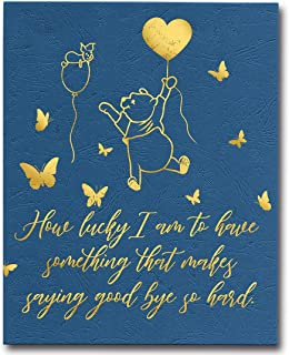 WIEZO-USA Winnie The Pooh Quote Gold Foil Print Poster Wall Art, Long Distance Friendship Gift,Memorial Gift,How Lucky I Am (8x10 inch, UNFRAMED)