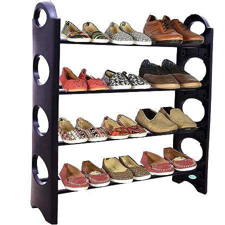Bebop® Shoe Rack Organizer Iron and Plastic Multipurpose Foldable 4 Shelves Cabinet, Black