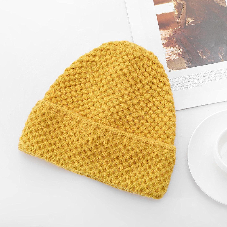 NC Women's Winter Knit Beanie Crochet Warm Cuffed hat Skull Cap Yellow