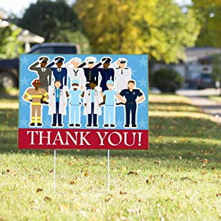 Vispronet Thank You Healthcare Workers, First Responders, and Military Yard Sign – 23in x 17in Weather Resistant Yard Sign...