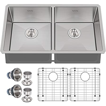 Hykolity 33-inch Undermount 50/50 Double Bowl 16 Gauge Stainless Steel Kitchen Sink