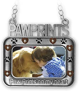Pet Ornament - Paw Prints on My Heart Picture Christmas Ornament - Heart and Paw Print Design with Gift Box
