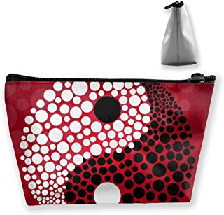 Trapezoid Cosmetic Bags Ying Yang Decor Abstract Graphic Circle Black And White Dot Pattern Multifunction Case Large Makeup Organizer Bag Brush Holder for Women Girls