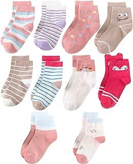 Kid Baby Girls Cute Cartoon Cotton Socks, Novelty Fashion Crew Socks, 2-4T, 5-8T, (10 pp)