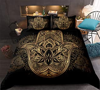 Gold Hamsa Hand Bedding Black Gold Boho Duvet Cover Set Golden Hand of Fatima Floral Pattern Bohemian Hippie Bedding Sets Queen (90x90) 1 Luxury Duvet Cover 2 Pillowcases (Hamsa Hand, Queen