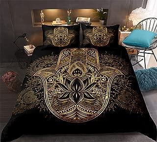 Gold Hamsa Hand Bedding Black Gold Bohemian Duvet Cover Set Golden Hand of Fatima Floral Pattern Boho Hippie Bedding Sets Queen 1 Mandala Duvet Cover 2 Pillowcases (Hamsa Hand, Queen