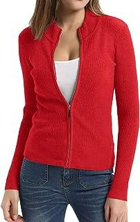 Women Knit Zipper Sweater Casual Cardigan Long Sleeve Sweater Tops