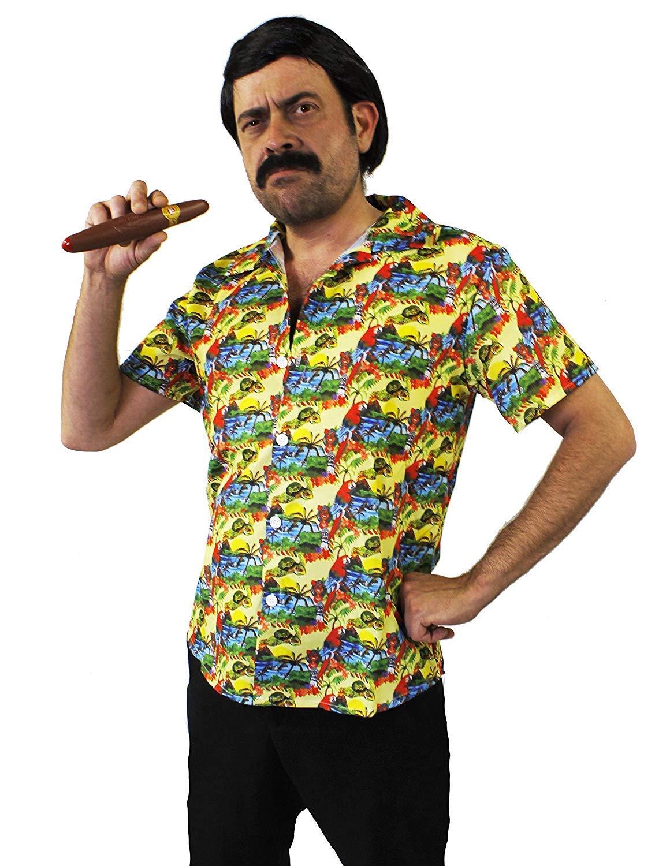 I LOVE FANCY DRESS LTD Disfraz DE Pablo Escobar - Camisa Hawaiana Amarilla + Peluca + Bigote + CIGARRO PELÍCULAS DE TV Disfraces DE SEÑOR DE Las Drogas - TAMAÑO: Grande: Amazon.es: Juguetes y juegos