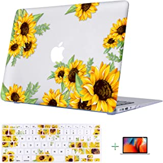 TeenGrow A1466 MacBook Air 13 Inch case (Older Version Release 2010-2017 Plastic Hard Shell with Keyboard Cover & Screen Protector, [Only Compatible MacBook Air 13 (A1369 & A1466)], Sunflower