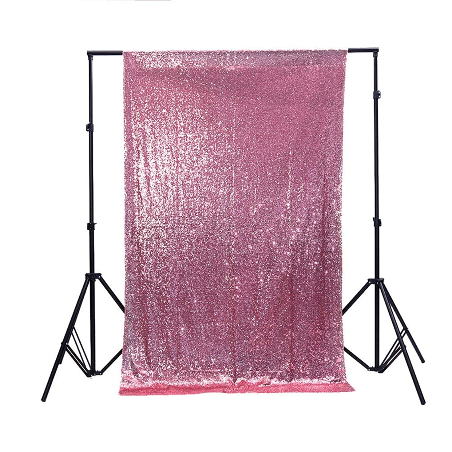Zdada 5FTX9FT Not Through Sequin Makeup Tutorials Backdrop for Video-Blush Pink