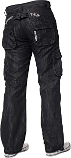 New ENZO Mens Designer Cargo Combat Blue Coated Denim Jeans Pants All Waist Size