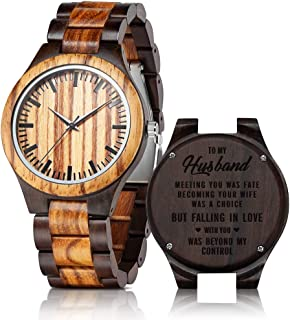 Personalized Engraved Wooden Watches for Husband Boyfriend Dad Son Customized Wood Watches for Men Anniversary Birthday Gifts