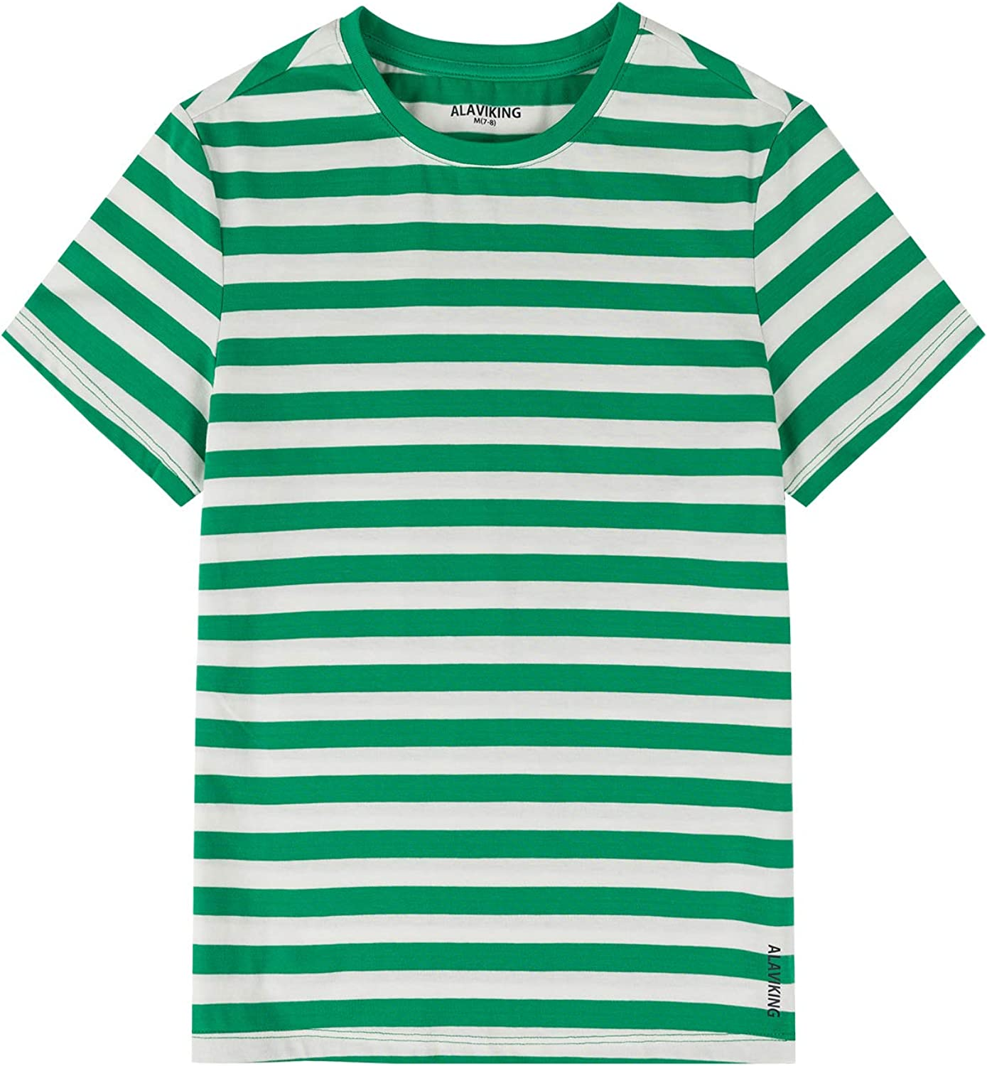 ALAVIKING Kids T Shirts Youth Short Sleeve Striped T-Shirts Crewneck Cotton T Shirts for Boys or Girls Size 3-12 Years