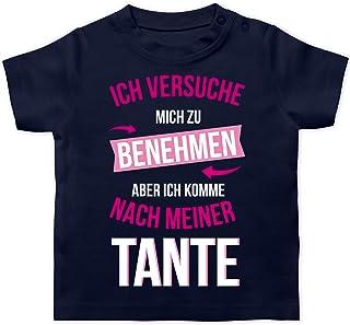 Shirtracer Sprüche Baby - Ich versuche Mich zu benehmen Aber ich komme nach meiner Tante - Baby T-Shirt Kurzarm