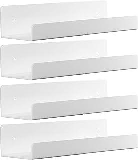 4 Pack White Acrylic Floating Wall Ledge Shelf,15