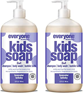 Everyone 3-in-1 Soap for Every Kid Safe, Gentle and Natural Shampoo, Body Wash, and Bubble Bath, Lavender Lullaby, 32 Fl Oz (Pack of 2)