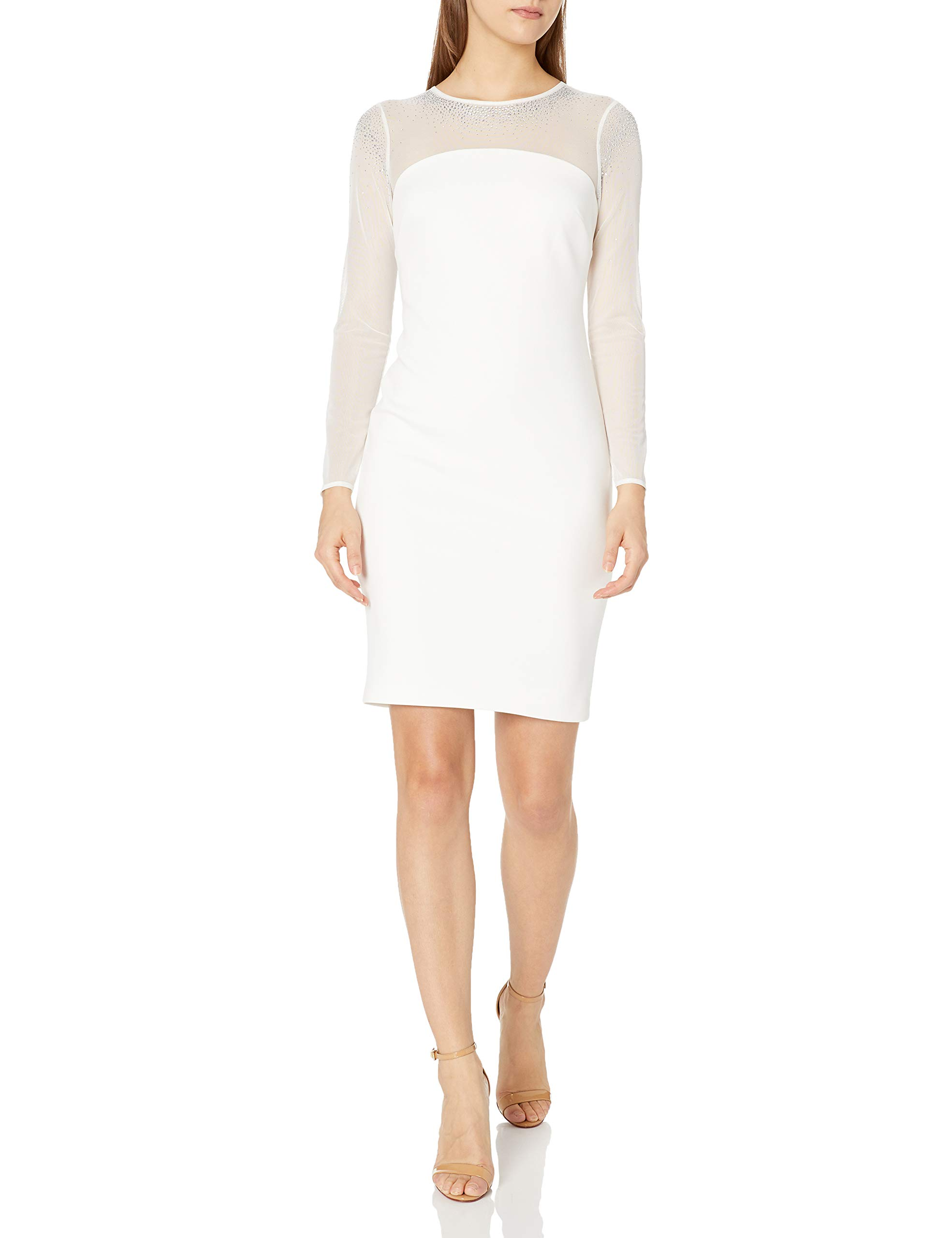 Available at Amazon: Calvin Klein Women's Petite Sheath with Illusion Neck and Sleeves