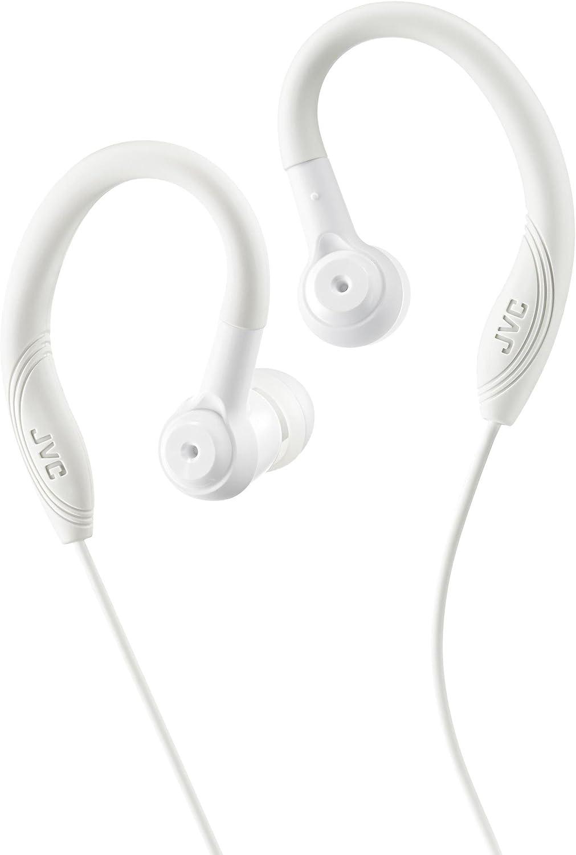 JVC Auriculares Deportivos HA-EC10 Auriculares de Botón con Clip para Entrenamiento. Potente Sonido y Máxima Sujeción. Impermeables, Resistentes y Ligeros. Conexión Jack 3.5mm. Color Blanco